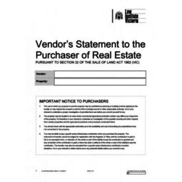 Section 32 Vendors Disclosure Statement